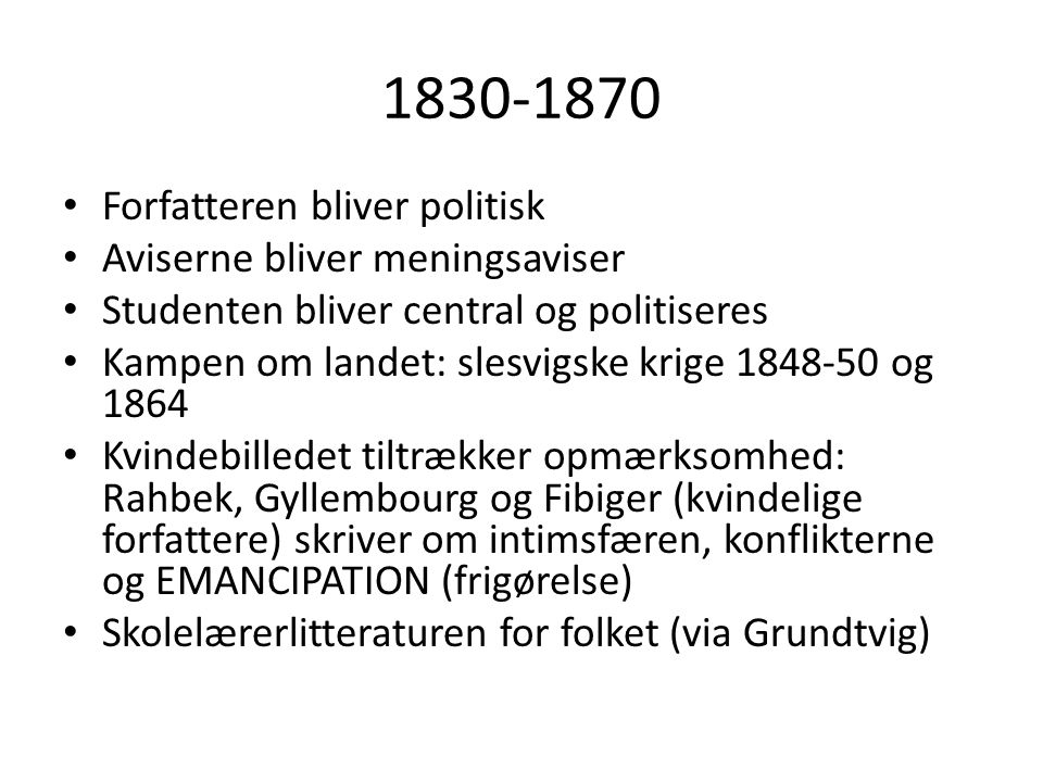 1870-1920 DET MODERNE GENNEMBRUD -En reaktion på fortiden -Et opgør med idealismen -Def: moderne, (fr.