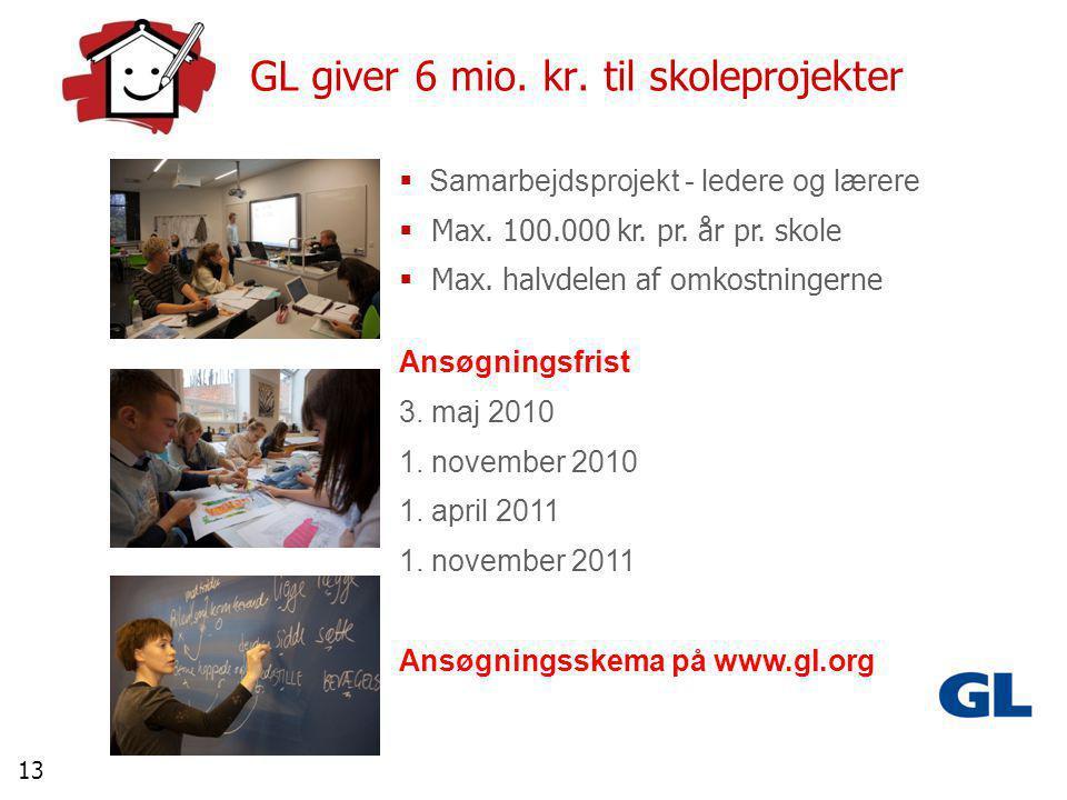 13 GL giver 6 mio. kr. til skoleprojekter  Samarbejdsprojekt - ledere og lærere  Max.