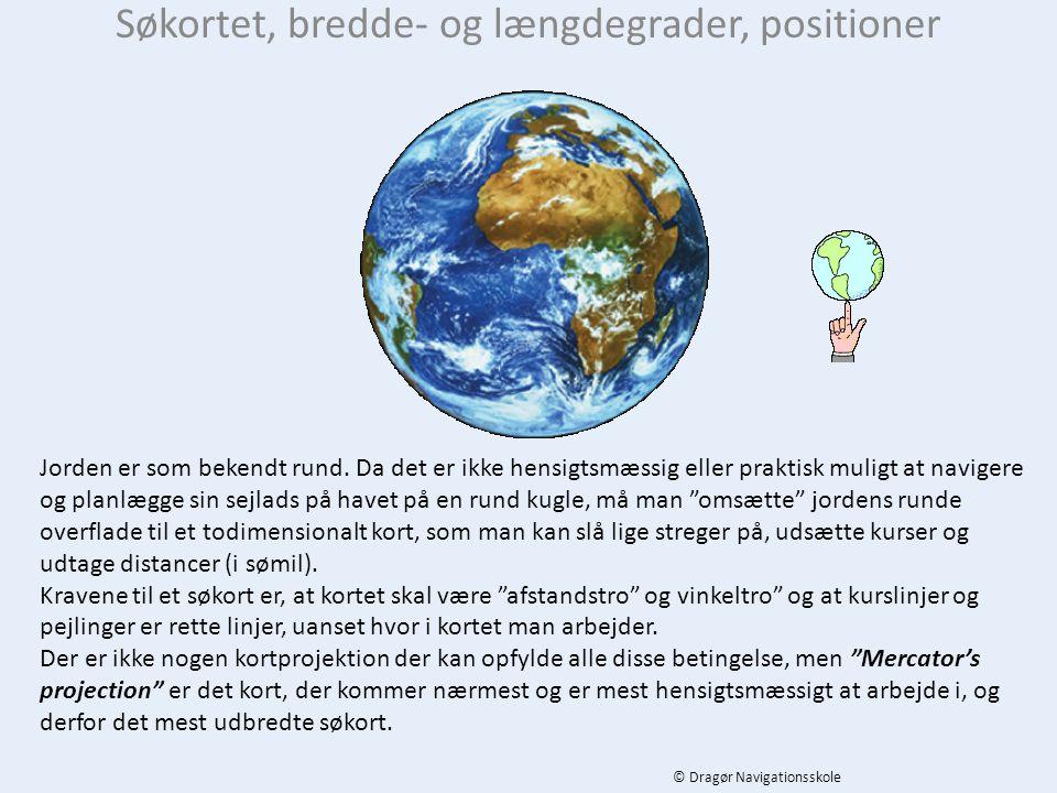 Søkortet, bredde- og længdegrader, positioner Jorden er som bekendt rund.