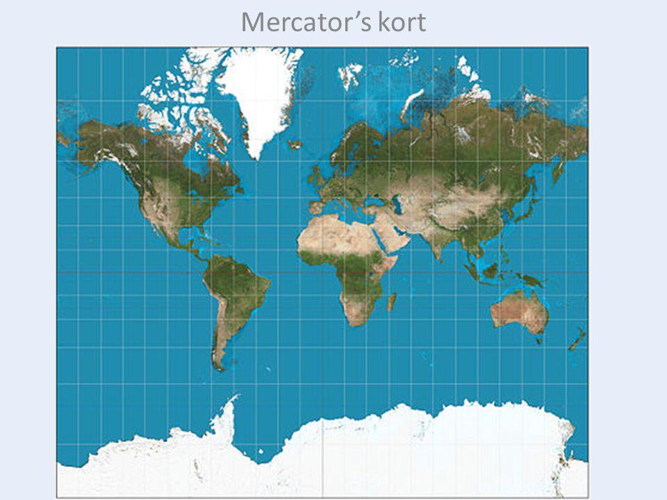 En kompaslinje skærer alle meridianer med samme vinkel, f.eks.