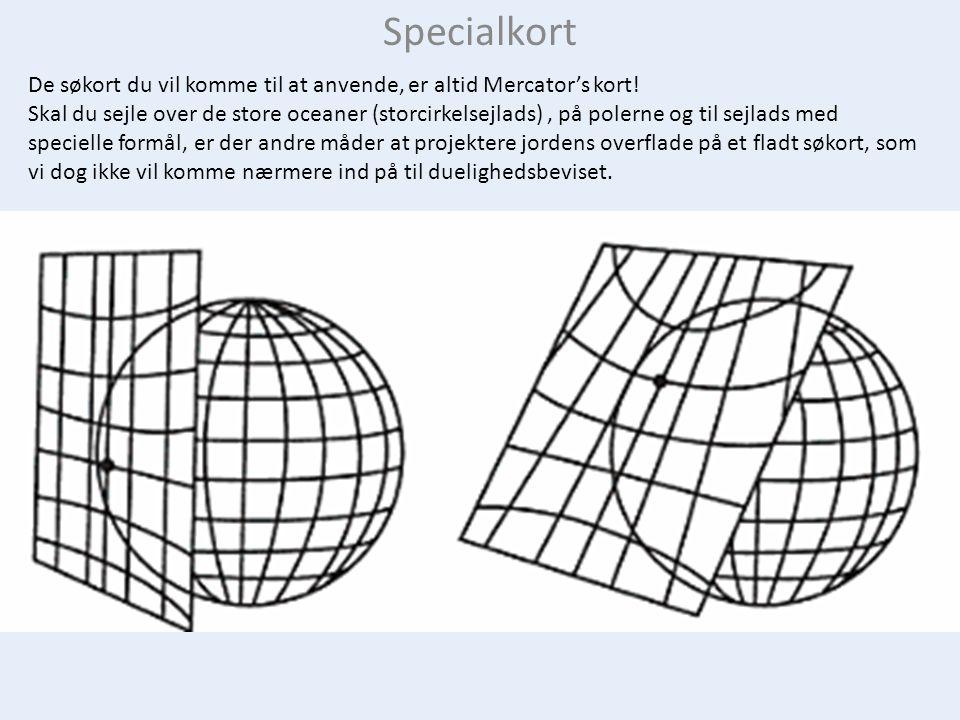 Specialkort De søkort du vil komme til at anvende, er altid Mercator's kort.
