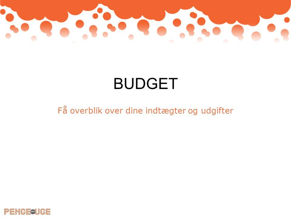 BUDGET Få overblik over dine indtægter og udgifter