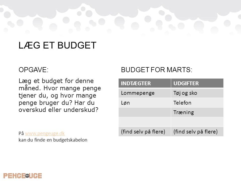 OPGAVE: Læg et budget for denne måned. Hvor mange penge tjener du, og hvor mange penge bruger du? Har du overskud eller underskud? BUDGET FOR MARTS: L