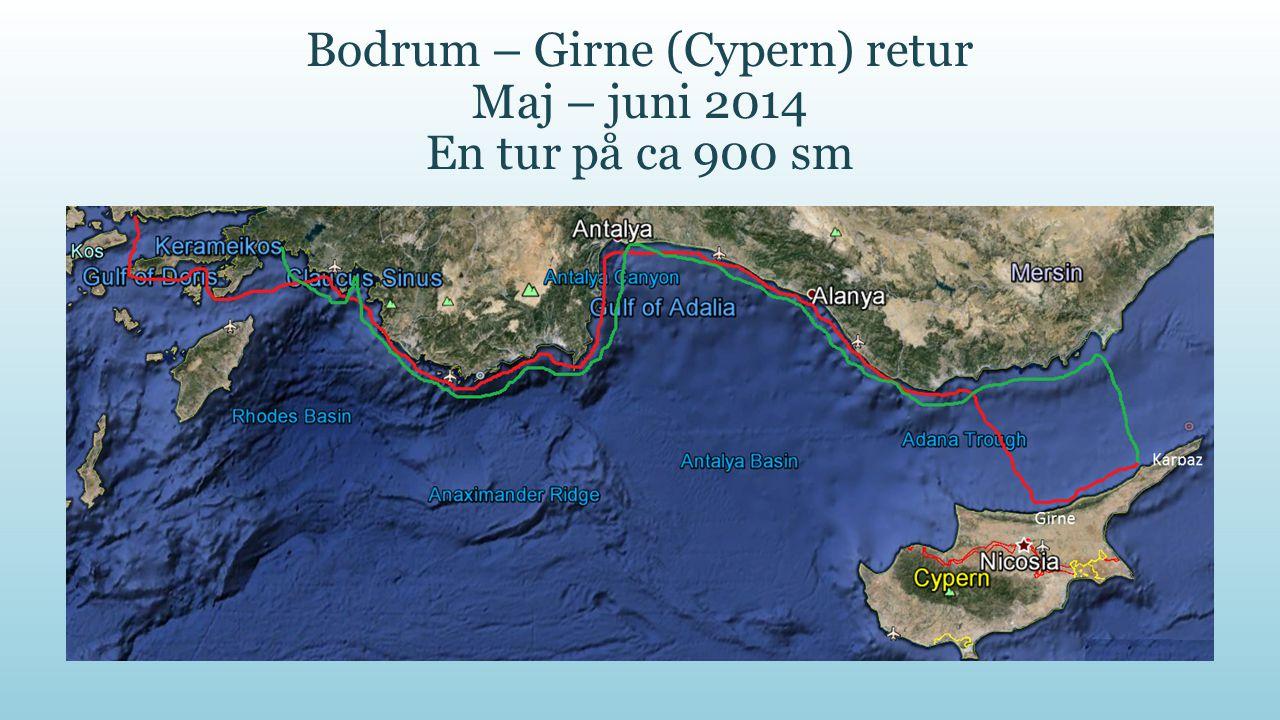 Turens sejladser Turen, sommeren 2014 går fra Bodrum sydøstover mod Cyperns tyrkiske del, hvor vi på nordøstsiden vil besøge Girne og Karpaz, hvorefter vi eftersommeren returnerer til Nestel Marina i Marmaris.