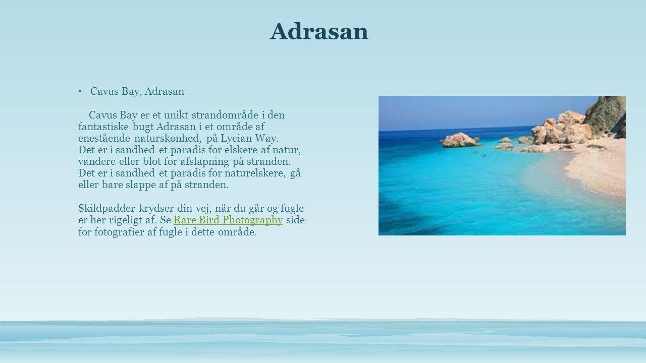 Adrasan • Cavus Bay, Adrasan Cavus Bay er et unikt strandområde i den fantastiske bugt Adrasan i et område af enestående naturskønhed, på Lycian Way.