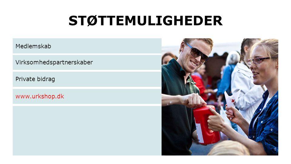 STØTTEMULIGHEDER Medlemskab Virksomhedspartnerskaber Private bidrag www.urkshop.dk