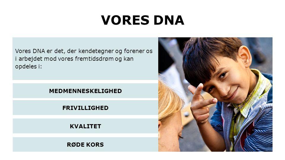 VORES DNA Vores DNA er det, der kendetegner og forener os i arbejdet mod vores fremtidsdrøm og kan opdeles i: RØDE KORS MEDMENNESKELIGHED FRIVILLIGHED