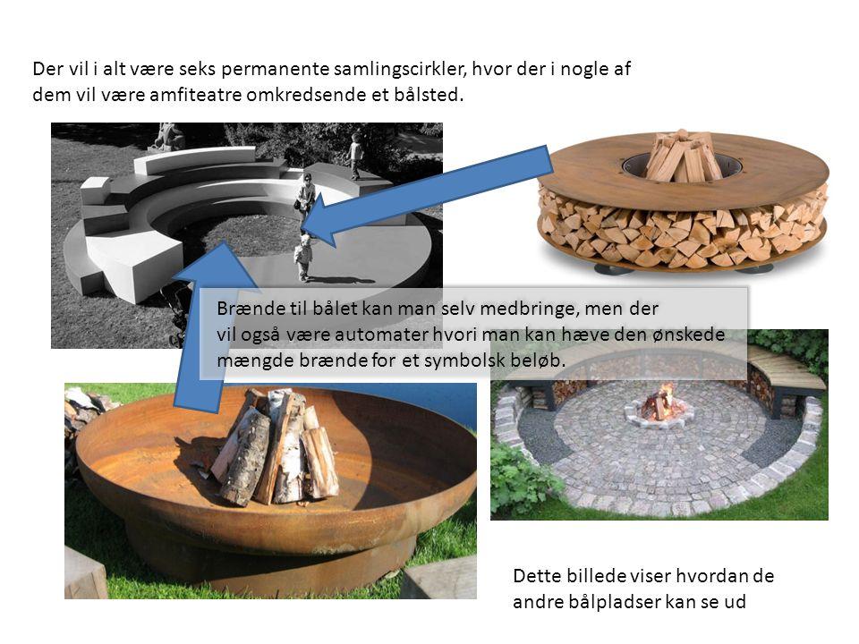 Der vil i alt være seks permanente samlingscirkler, hvor der i nogle af dem vil være amfiteatre omkredsende et bålsted. Dette billede viser hvordan de