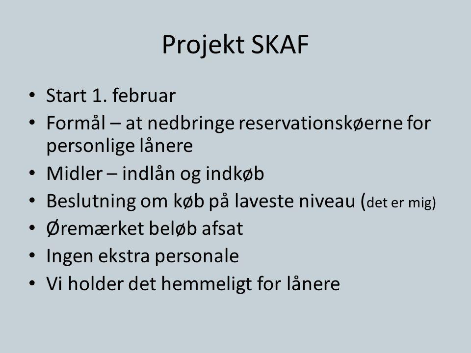 Projekt SKAF • Start 1. februar • Formål – at nedbringe reservationskøerne for personlige lånere • Midler – indlån og indkøb • Beslutning om køb på la