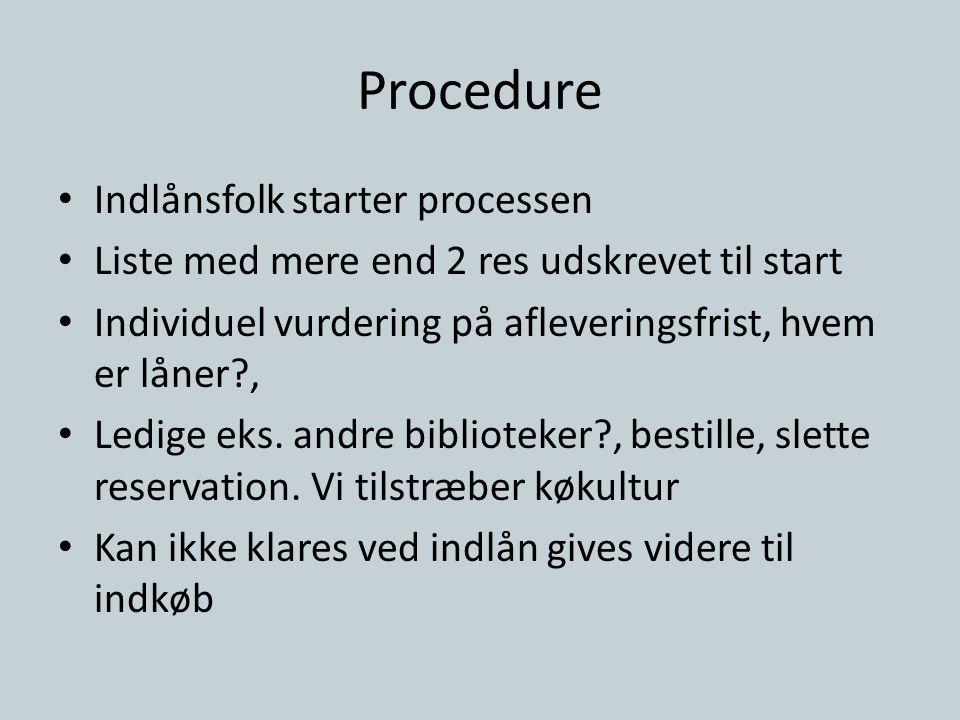 Procedure • Indlånsfolk starter processen • Liste med mere end 2 res udskrevet til start • Individuel vurdering på afleveringsfrist, hvem er låner?, • Ledige eks.