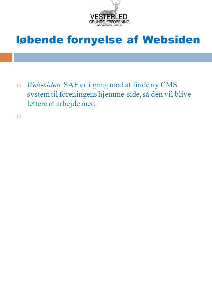 løbende fornyelse af Websiden  Web-siden.