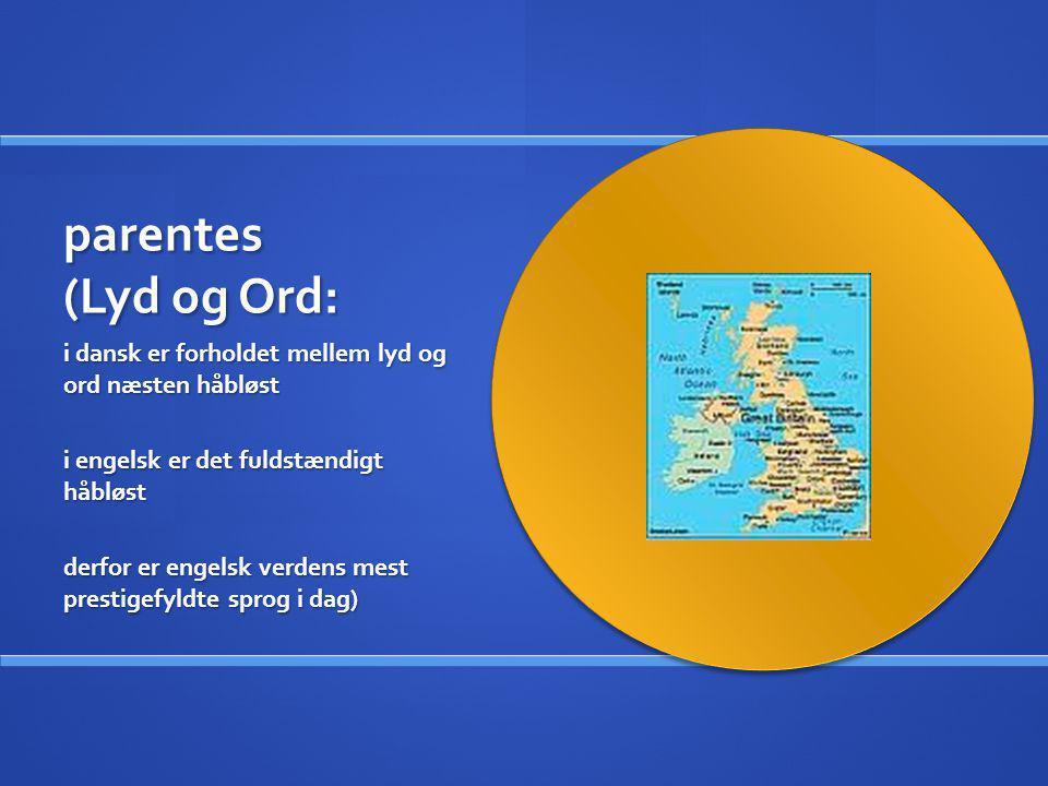 parentes (Lyd og Ord: i dansk er forholdet mellem lyd og ord næsten håbløst i engelsk er det fuldstændigt håbløst derfor er engelsk verdens mest prest