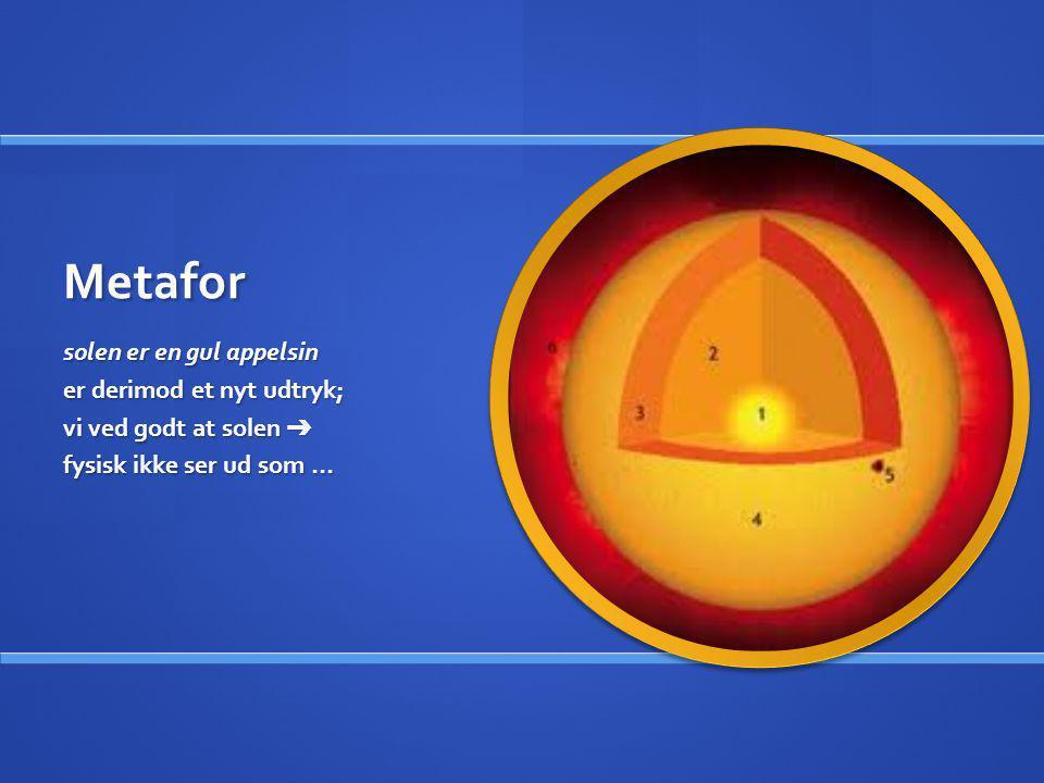 Metafor solen er en gul appelsin er derimod et nyt udtryk; vi ved godt at solen ➔ fysisk ikke ser ud som …