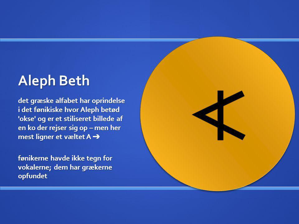 Aleph Beth det græske alfabet har oprindelse i det fønikiske hvor Aleph betød 'okse' og er et stiliseret billede af en ko der rejser sig op – men her