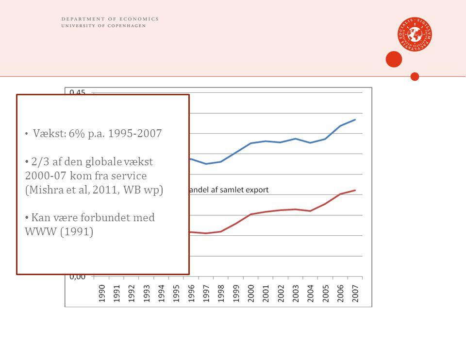 • Vækst: 6% p.a. 1995-2007 • 2/3 af den globale vækst 2000-07 kom fra service (Mishra et al, 2011, WB wp) • Kan være forbundet med WWW (1991)