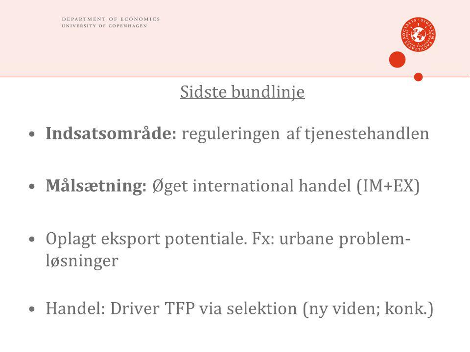 Sidste bundlinje •Indsatsområde: reguleringen af tjenestehandlen •Målsætning: Øget international handel (IM+EX) •Oplagt eksport potentiale. Fx: urbane