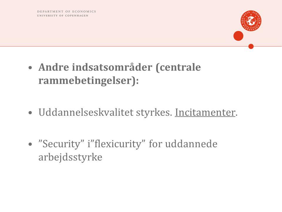 """•Andre indsatsområder (centrale rammebetingelser): •Uddannelseskvalitet styrkes. Incitamenter. •""""Security"""" i""""flexicurity"""" for uddannede arbejdsstyrke"""