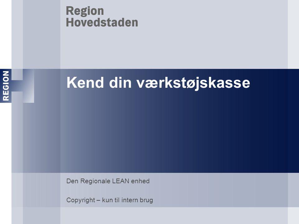 Kend din værkstøjskasse Den Regionale LEAN enhed Copyright – kun til intern brug