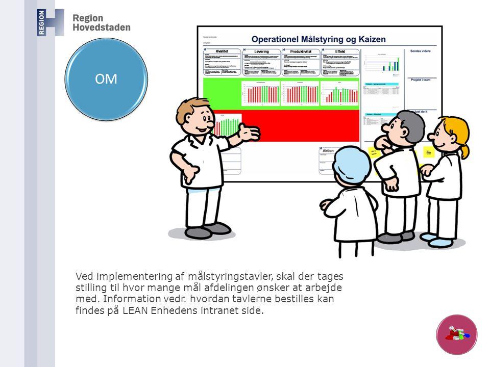Ved implementering af målstyringstavler, skal der tages stilling til hvor mange mål afdelingen ønsker at arbejde med. Information vedr. hvordan tavler