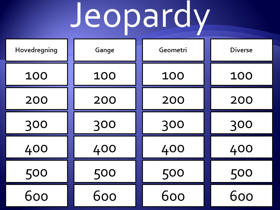 Jeopardy 100 200 300 400 500 600 100 200 300 400 500 600 100 200 300 400 500 600 HovedregningGangeGeometriDiverse