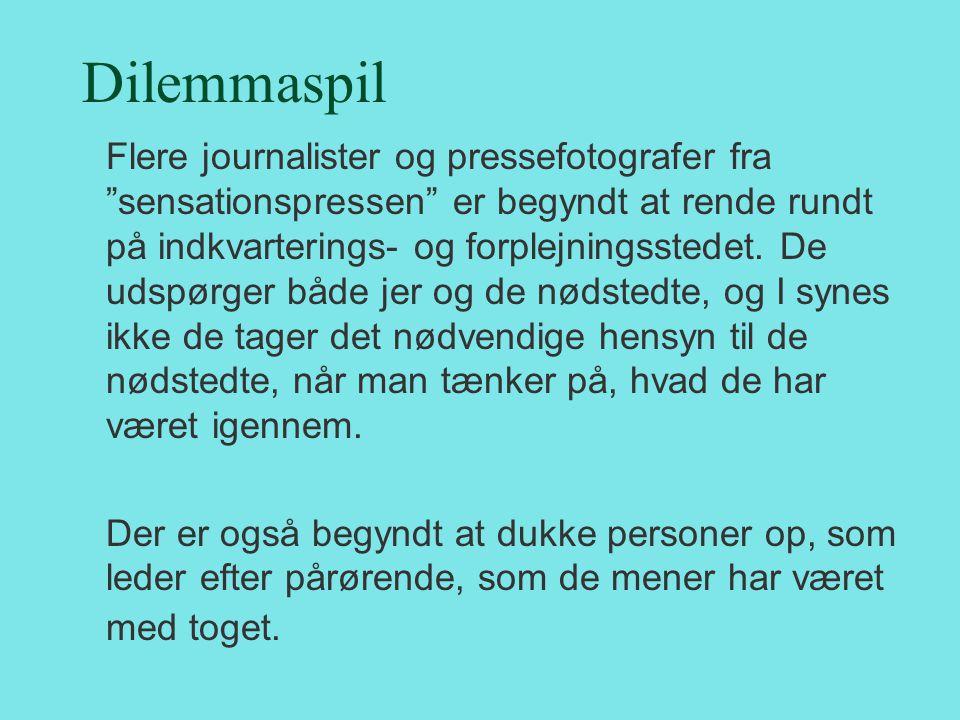 """Dilemmaspil Flere journalister og pressefotografer fra """"sensationspressen"""" er begyndt at rende rundt på indkvarterings- og forplejningsstedet. De udsp"""