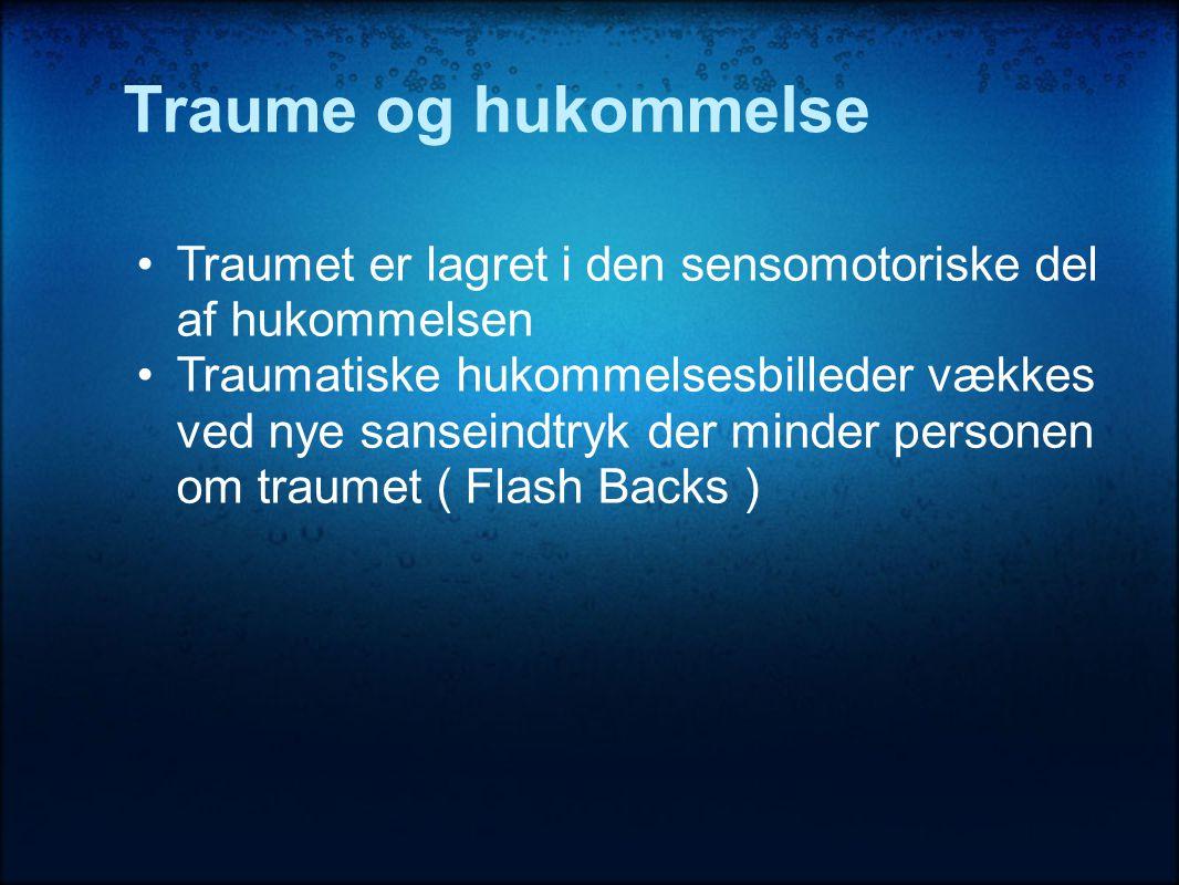 Traume og hukommelse •Traumet er lagret i den sensomotoriske del af hukommelsen •Traumatiske hukommelsesbilleder vækkes ved nye sanseindtryk der minder personen om traumet ( Flash Backs )