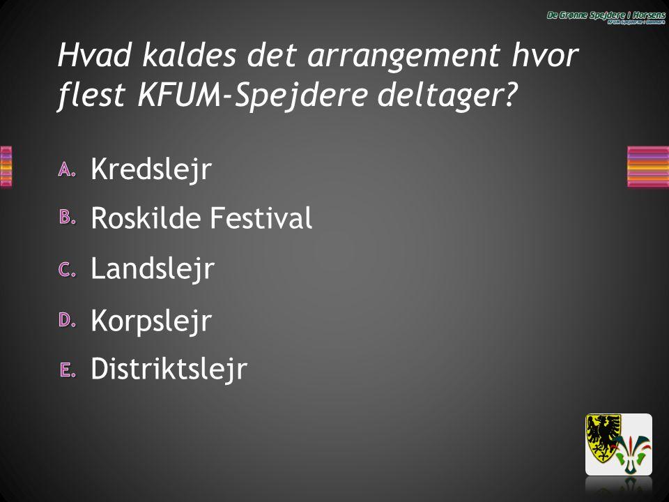 Hvad kaldes det arrangement hvor flest KFUM-Spejdere deltager? Distriktslejr Kredslejr Landslejr Roskilde Festival Korpslejr