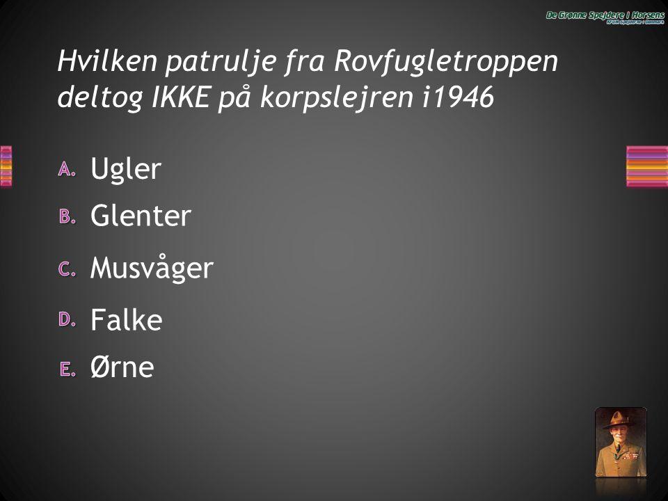 Hvilken patrulje fra Rovfugletroppen deltog IKKE på korpslejren i1946 Ørne Ugler Glenter Falke Musvåger