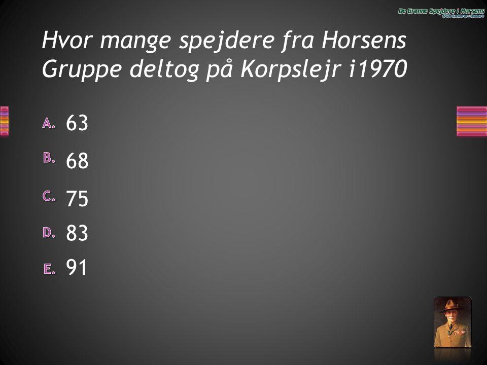 Hvor mange spejdere fra Horsens Gruppe deltog på Korpslejr i1970 91 63 68 83 75