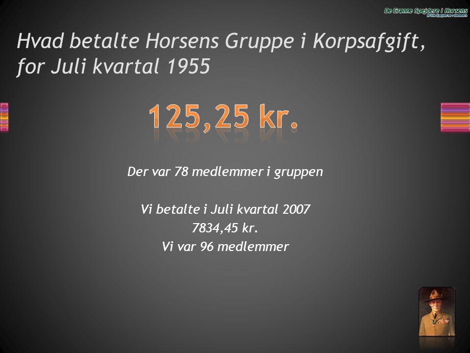 Hvad betalte Horsens Gruppe i Korpsafgift, for Juli kvartal 1955 Der var 78 medlemmer i gruppen Vi betalte i Juli kvartal 2007 7834,45 kr. Vi var 96 m