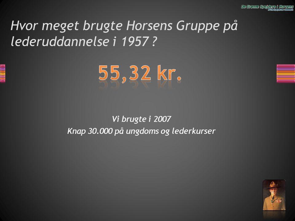 Hvor meget brugte Horsens Gruppe på lederuddannelse i 1957 ? Vi brugte i 2007 Knap 30.000 på ungdoms og lederkurser