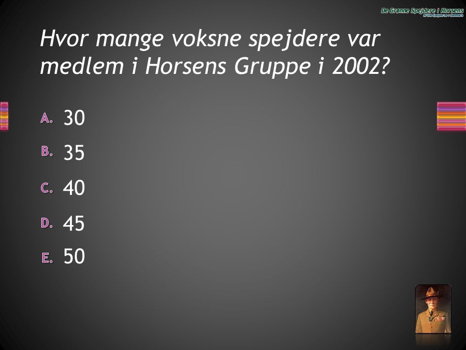 Hvor mange voksne spejdere var medlem i Horsens Gruppe i 2002? 40 35 50 30 45