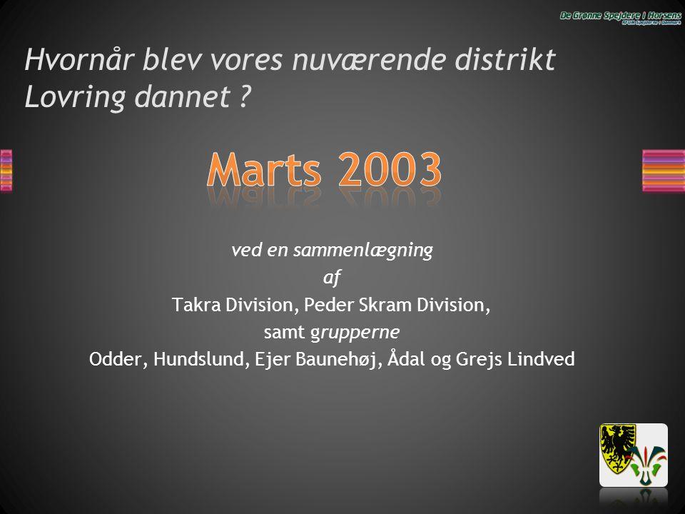 Hvornår blev vores nuværende distrikt Lovring dannet ? ved en sammenlægning af Takra Division, Peder Skram Division, samt grupperne Odder, Hundslund,
