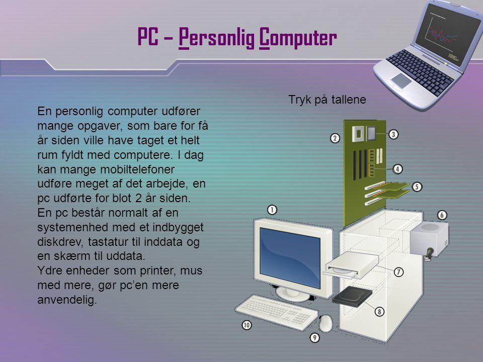 PC – Personlig Computer En personlig computer udfører mange opgaver, som bare for få år siden ville have taget et helt rum fyldt med computere.