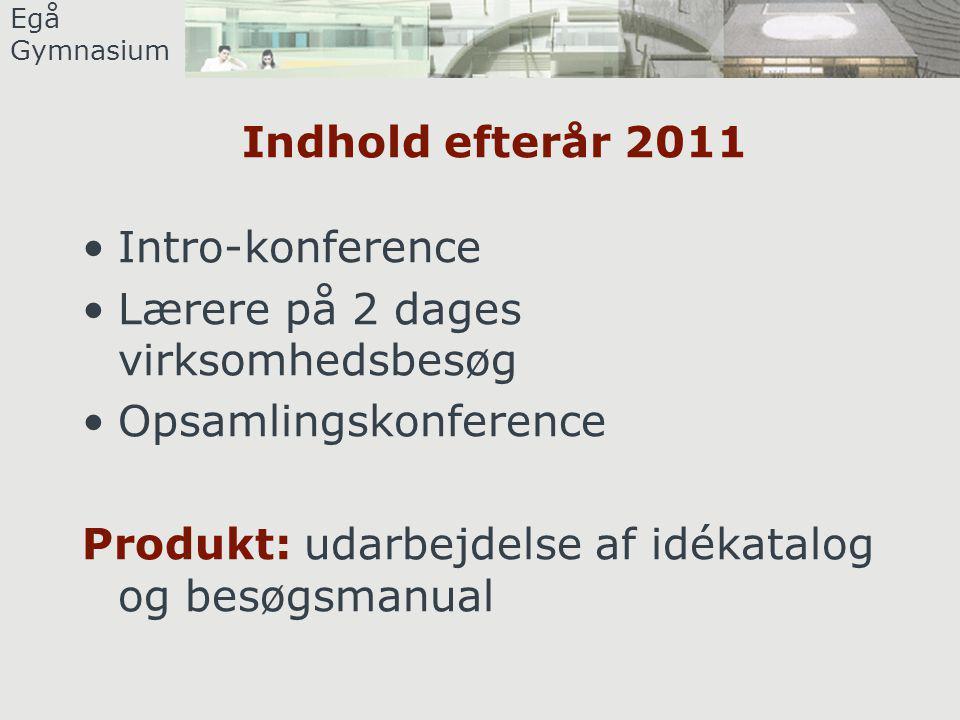 Egå Gymnasium Indhold efterår 2011 •Intro-konference •Lærere på 2 dages virksomhedsbesøg •Opsamlingskonference Produkt: udarbejdelse af idékatalog og besøgsmanual