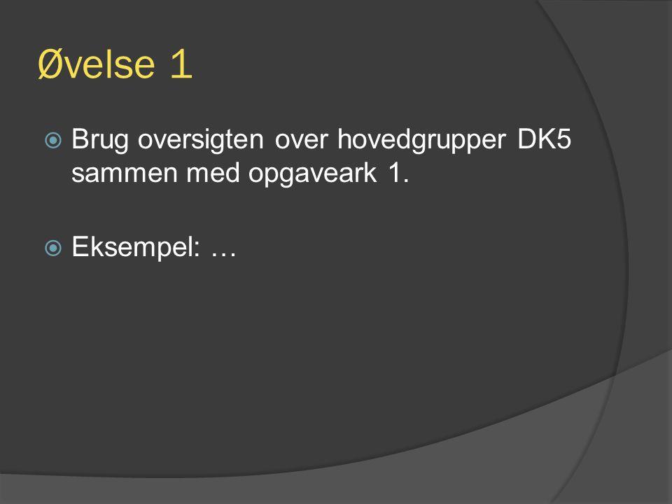 Øvelse 1  Brug oversigten over hovedgrupper DK5 sammen med opgaveark 1.  Eksempel: …