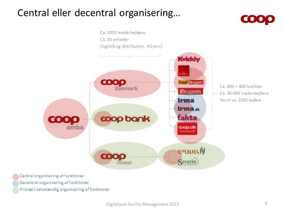 Central eller decentral organisering… Digitalpost Facility Management 2013 3 Central organisering af funktioner Decentral organisering af funktioner P