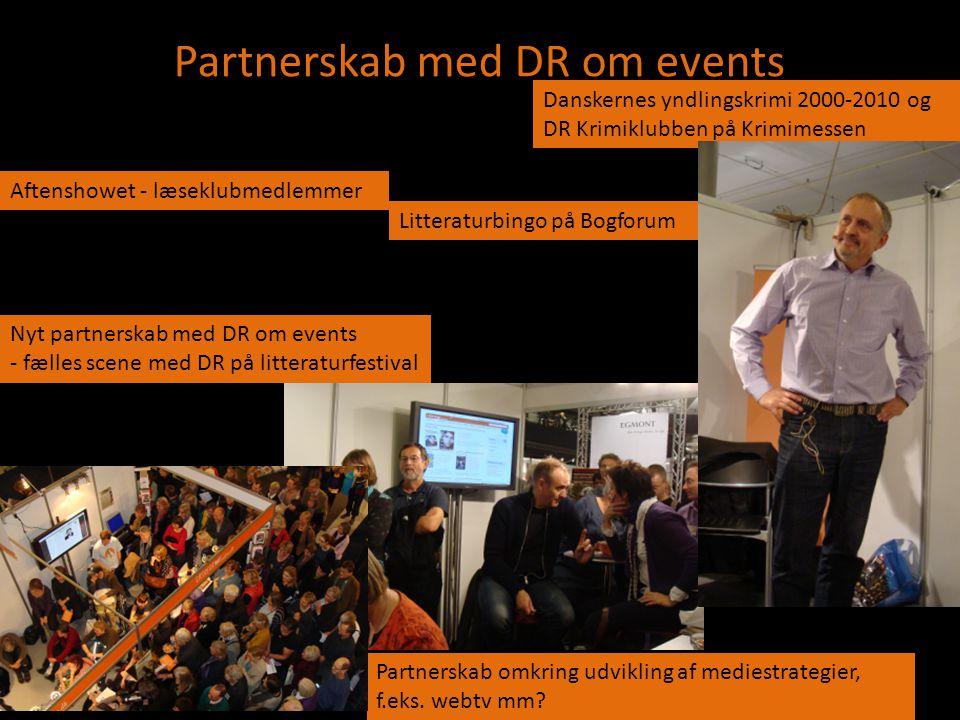 Partnerskab med DR om events Nyt partnerskab med DR om events - fælles scene med DR på litteraturfestival Litteraturbingo på Bogforum Partnerskab omkr