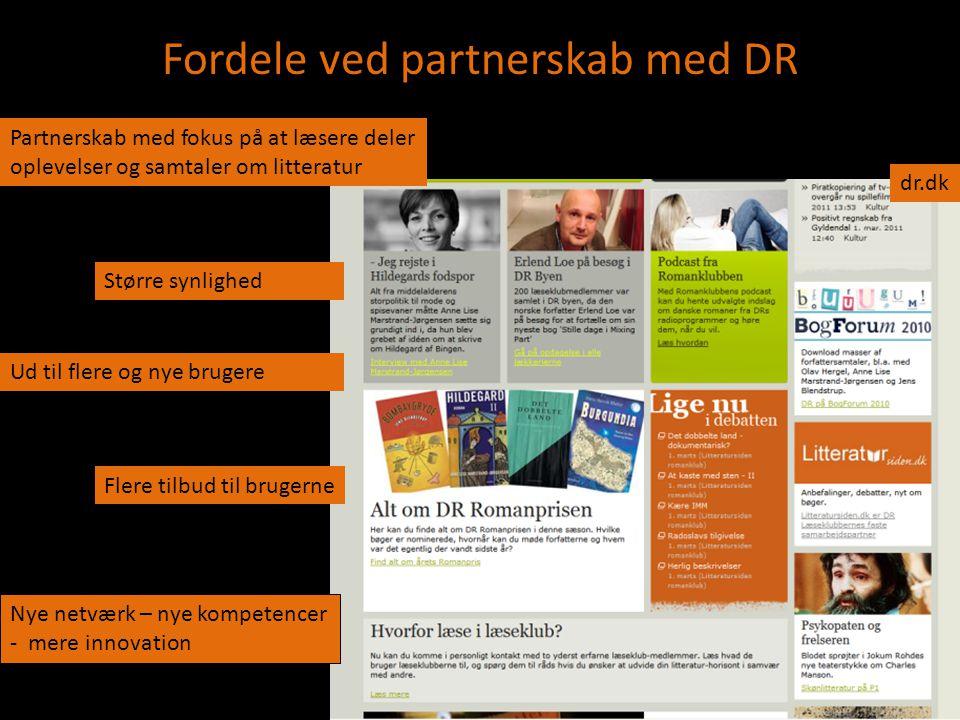 Fordele ved partnerskab med DR Partnerskab med fokus på at læsere deler oplevelser og samtaler om litteratur Ud til flere og nye brugere Større synlighed dr.dk Nye netværk – nye kompetencer - mere innovation Flere tilbud til brugerne