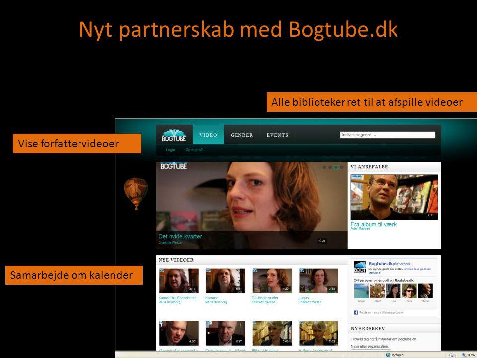 Nyt partnerskab med Bogtube.dk Vise forfattervideoer Samarbejde om kalender Alle biblioteker ret til at afspille videoer
