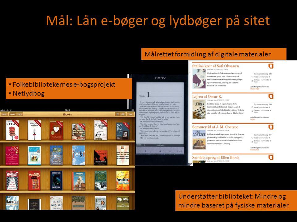 net Folkebibliotekernes e-bogsprojekt Mål: Lån e-bøger og lydbøger på sitet • Folkebibliotekernes e-bogsprojekt • Netlydbog Understøtter biblioteket: Mindre og mindre baseret på fysiske materialer Målrettet formidling af digitale materialer