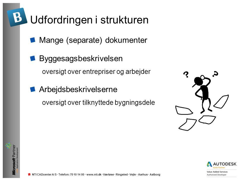 NTI CADcenter A/S · Telefon: 70 10 14 00 · www.nti.dk · Værløse · Ringsted · Vejle · Aarhus · Aalborg Word kan anvendes Rigtig mange filer at holde styr på Strukturering foregår rent manuelt Hvor har du basisteksten og vejledningen.