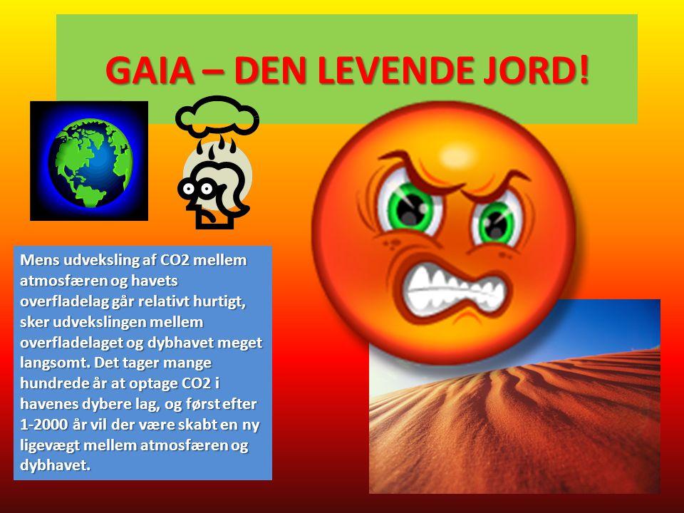 GAIA – DEN LEVENDE JORD! Mens udveksling af CO2 mellem atmosfæren og havets overfladelag går relativt hurtigt, sker udvekslingen mellem overfladelaget