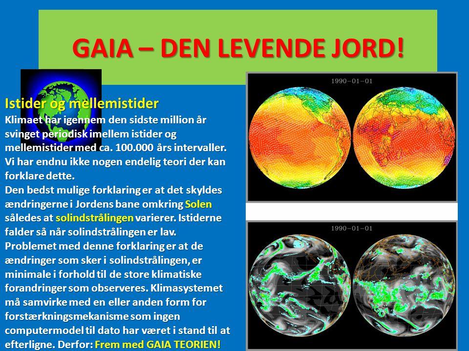 GAIA – DEN LEVENDE JORD! Istider og mellemistider Klimaet har igennem den sidste million år svinget periodisk imellem istider og mellemistider med ca.