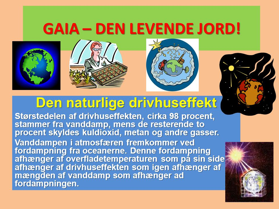 GAIA – DEN LEVENDE JORD! Den naturlige drivhuseffekt Størstedelen af drivhuseffekten, cirka 98 procent, stammer fra vanddamp, mens de resterende to pr