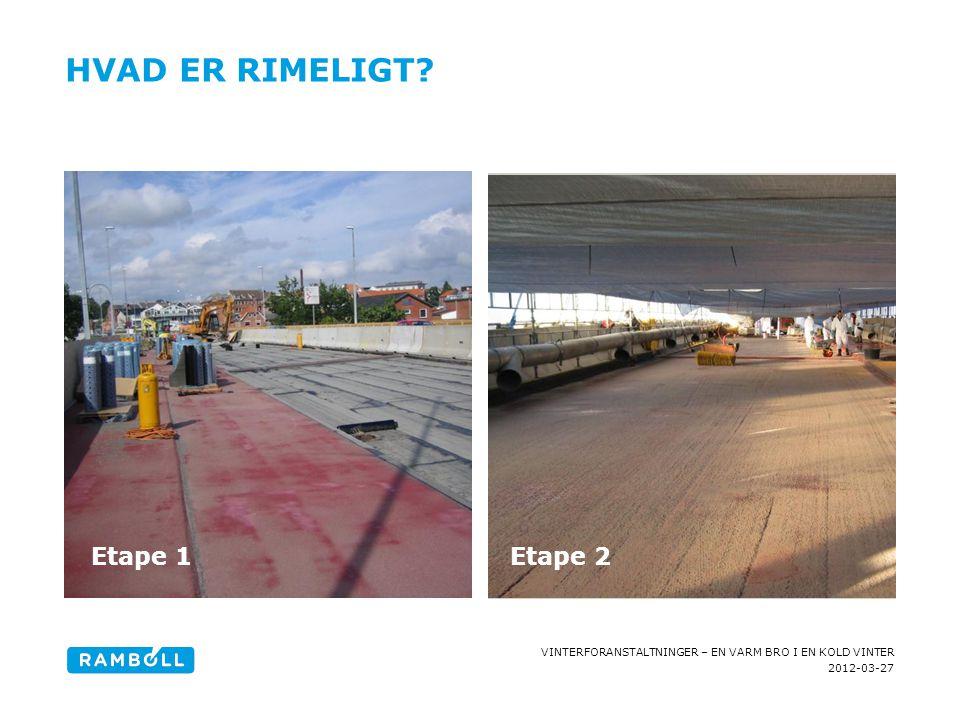 2012-03-27 VINTERFORANSTALTNINGER – EN VARM BRO I EN KOLD VINTER HVAD ER RIMELIGT? Content slide, two columns with image Etape 1Etape 2