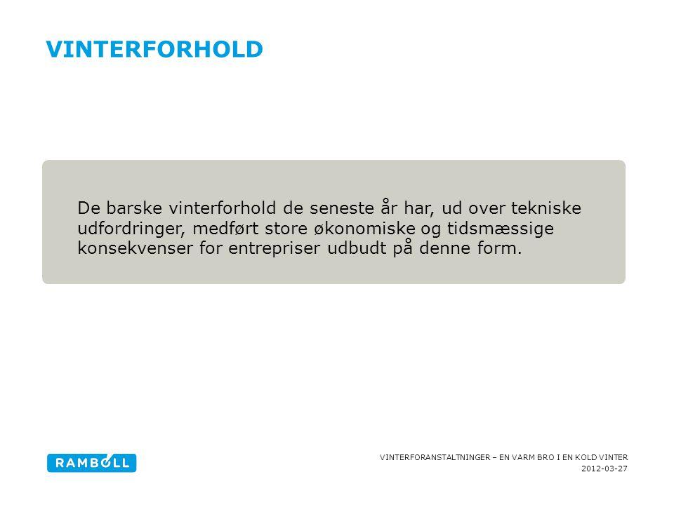 2012-03-27 VINTERFORANSTALTNINGER – EN VARM BRO I EN KOLD VINTER VINTERFORHOLD Content slide, with fact box De barske vinterforhold de seneste år har,