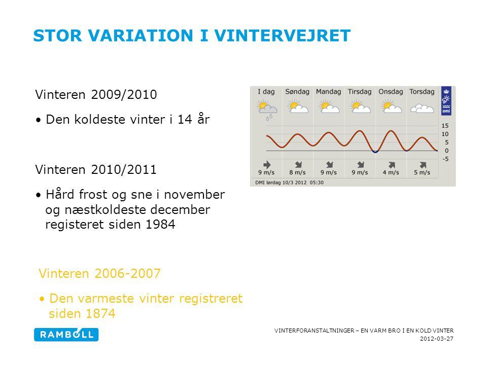2012-03-27 VINTERFORANSTALTNINGER – EN VARM BRO I EN KOLD VINTER [ADD HEADLINE] [Add text] STOR VARIATION I VINTERVEJRET Vinteren 2009/2010 •Den kolde