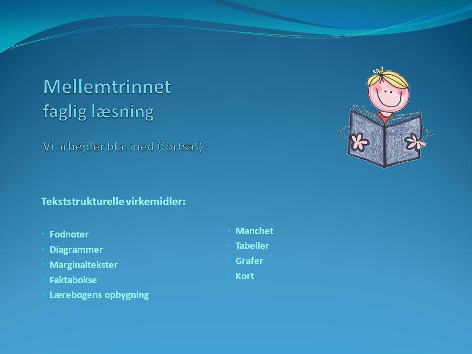 Tekststrukturelle virkemidler: • Fodnoter • Diagrammer • Marginaltekster • Faktabokse • Lærebogens opbygning • Manchet • Tabeller • Grafer • Kort