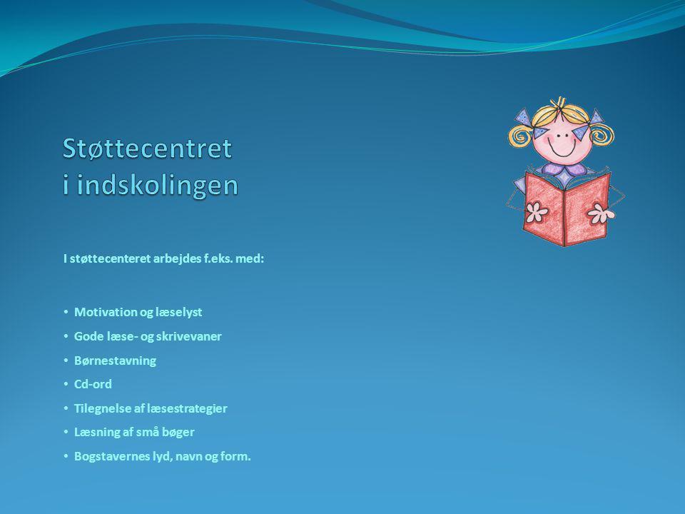 I støttecenteret arbejdes f.eks. med: • Motivation og læselyst • Gode læse- og skrivevaner • Børnestavning • Cd-ord • Tilegnelse af læsestrategier • L
